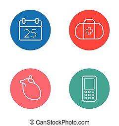 Vector Round Circle Buttons with Icons can be used as Logo or Icon