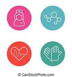 Vector Round Circle Buttons with Icons can be used as Logo...