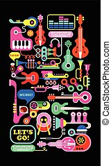Musical Composition - Musical vector composition. Graphic...