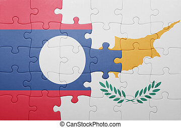 puzzle with the national flag of cyprus and laos
