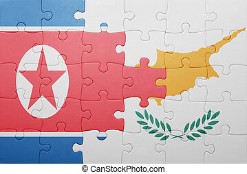 puzzle with the national flag of cyprus and north korea...