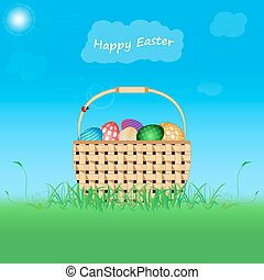 Postcard Easter Happy - Postcard Happy Easter Eggs of...