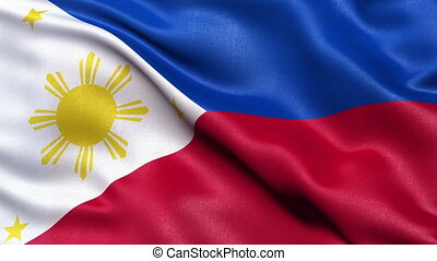 Philippines flag seamless loop - Realistic flag of...