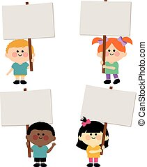 Group of kids holding blank signs - A happy multicultural...