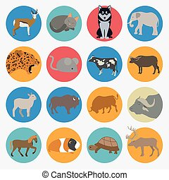 Animals mammals icon set