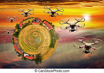 Abstract view - Invasion of drones - Drone cargo delivery...