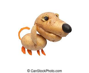 perro, hecho, de, papas, zanahoria, y, aceitunas,
