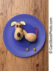 perro, hecho, de, vegetales, en, azul, placa,