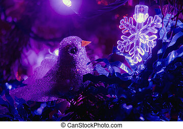 Bird on Christmas tree - Decoration bird on the Christmas...