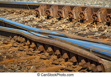 Railroad Tracks Frog - Rail switches in yard off main line...