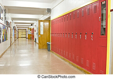 Empty School Hallway - An empty highschool hallway with red...