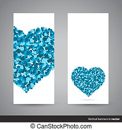 Two vertical Valentine banners, back and front side