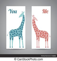 Two vertical Valentine cards showing two giraffes, back and front side
