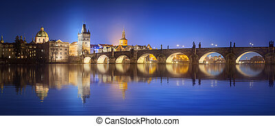 View on Charles Bridge in Prague at night, Czech Republic