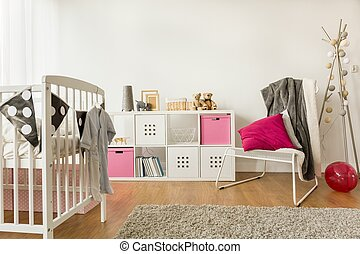Nursery for baby girl - Horizontal view of nursery for baby...