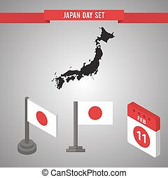 Japan Day Flat isometric 3d flag on a flagpole, map - Japan...