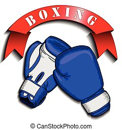 Boxing gloves - Illustration of blue boxing gloves on a...