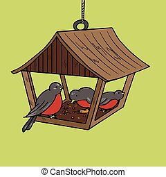 Bird feeder pop art style vector illustration. Comic book...