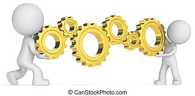 Golden Cogwheels. - Dude 3D characters X2 holding 6 Golden...