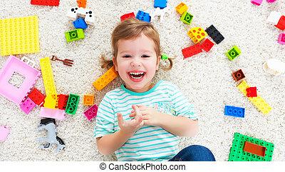 Spielzeuge, Erbauer, lachender, kind, spielende, glücklich