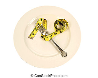 A Dieter's Plate - A concept of dieting with a yellow tape...