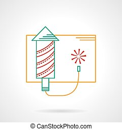 Thin color line fireworks vector icon