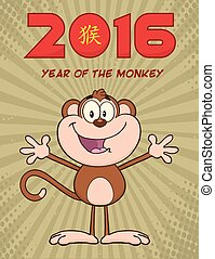 Cute Monkey With Open Arms - Cute Monkey Cartoon Character...