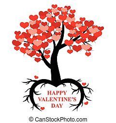 Tree decorated hearts with roots in the form of heart -...