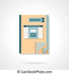 Accounting book flat color vector icon - Accounting ledger...
