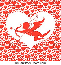 Valentines day card with Amur in heart - Vector...