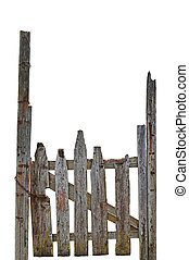 Old Aged Weathered Rural Ruined Grey Wooden Gate, Isolated...