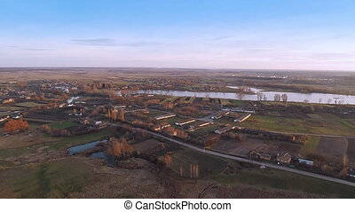 Village With a Birds-eye view in A - Aerial shot: Village...