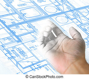 hand drawing and blueprint architectural background - hand...