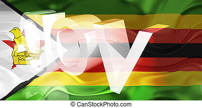 Flag of Zimbabwe wavy government - Flag of Zimbabwe,...