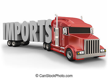 Imports 3d Word Red Truck Tractor Trailer International Shipping