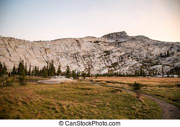 Yosemite in summer during sunset along john muir trail