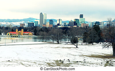 View of downtown Denver evening the lake and geese in the foreground, Colorado, USA