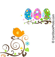 easter design with cute bird and eggs on branch