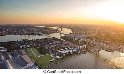 aerial view of bhumibol bridge - aerial view of bhumibol 1,2...