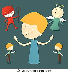 boy with red devil and cute angel