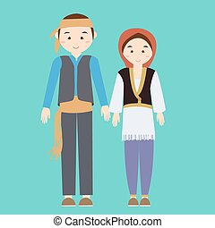 couple man woman turkish wearing turk turkey traditional costume clothes dress male female vector illustration