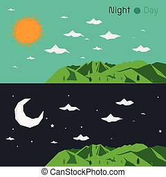 nighttime and daytime landscape polygon  infographic design