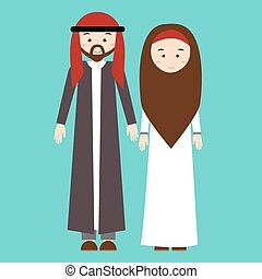 couple man woman wearing arab arabic traditional costume clothes dress male female vector illustration