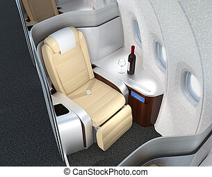 Luxurious business class cabin - Close-up of luxurious...