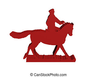 silhouette of military horseman on white 3D isolated