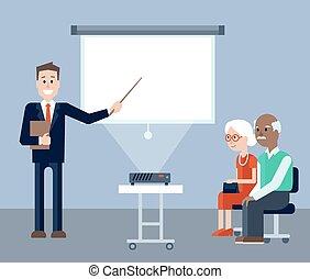 Insurance agent in seminar for seniors