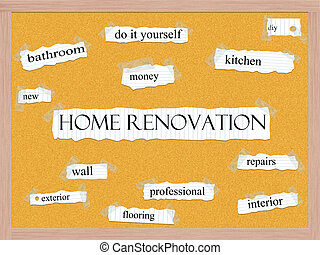 Home Renovation Corkboard Word Concept with great terms such...