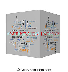 Home Renovation 3D cube Word Cloud Concept with great terms...