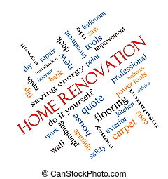 Home Renovation Word Cloud Concept angled with great terms...