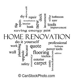 Home Renovation Word Cloud Concept in black and white